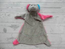 Action Toi Toys knuffeldoek velours grijs roze blauw Muis