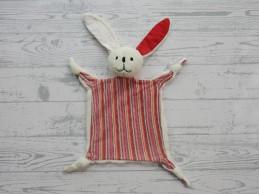 Difrax knuffeldoek velours wit tricot rood gestreept Konijn