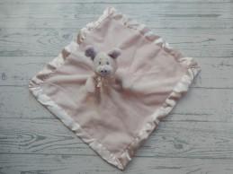 Knuffeldoek velours satijn roze lila rammeltje varken