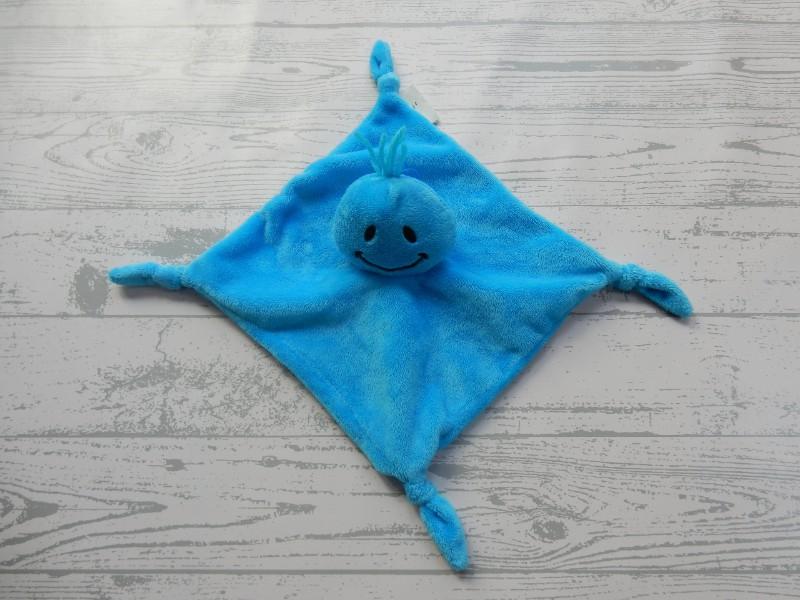 Daatje Kids Commotions knuffeldoek velours blauw Momo