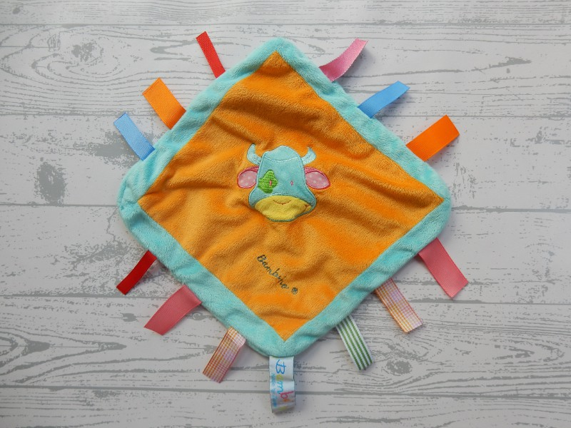 Bambino Tiamo knuffeldoek velours blauw oranje labels koe