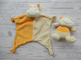 Paradise Toys knuffeldoek met rammelaar velours geel Nijlpaard