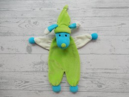 Hema knuffeldoek tutpop velours groen blauw wit Hond