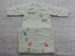 Prenatal winter slaapzak fleece off-white letters tekst maat 110