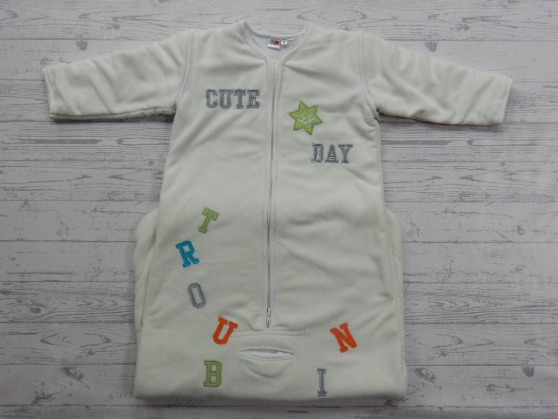 Prenatal winter slaapzak fleece off-white letters tekst maat 110