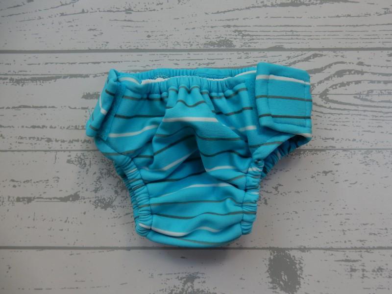 Prenatal zwemluier blauw wit grijs gestreept maat 56-62
