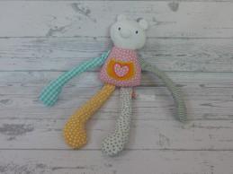Hema knuffel slungel velours wit roze geel oranje hart Jane Nieuw!