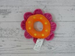 Nino & Ideas knuffel rammelaar velours fuchsia roze oranje bloem