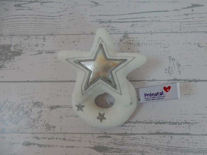 Prenatal rammelaar velours wit zilver Ster