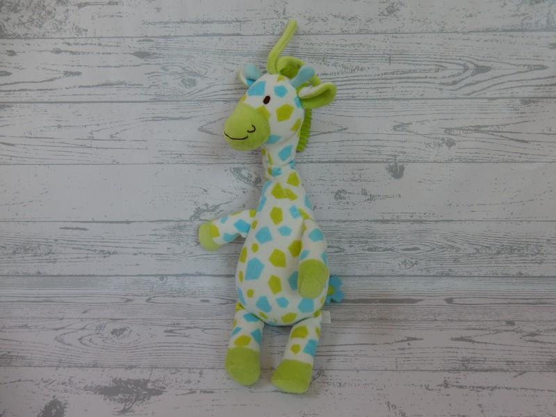 Happy Horse knuffel muziekdoos velours blauw groen giraffe Goffy 2007