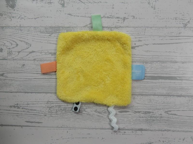 Snoozebaby knuffeldoek labeldoek geel wit Limoncello Zwitsal Neutral