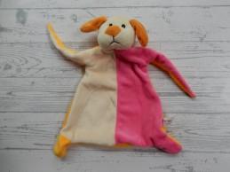 Action Toi Toys knuffeldoek velours dieren oranje beige roze Hond