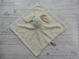 Prenatal knuffeldoek tuttel velours wit beige borduur Konijn