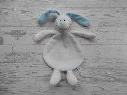 Natalis Zilveren Kruis knuffeldoek velours wit lichtblauw konijn