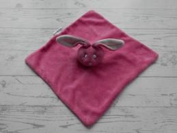 Bambino knuffeldoek velours fuchsia roze wit konijn