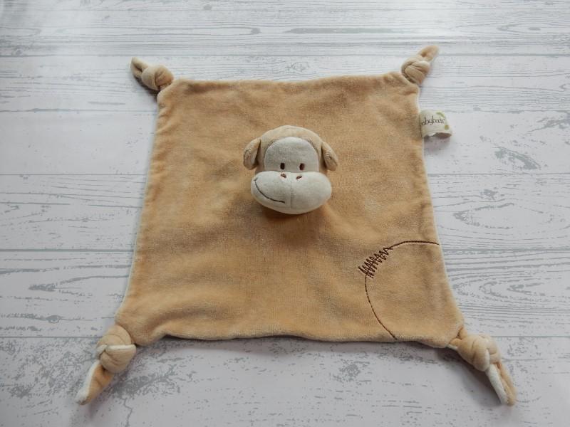 Babybuds knuffeldoek velours beige bruin Aap