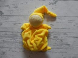 Difrax knuffeldoek tutpopje soft velours gerimpeld geel