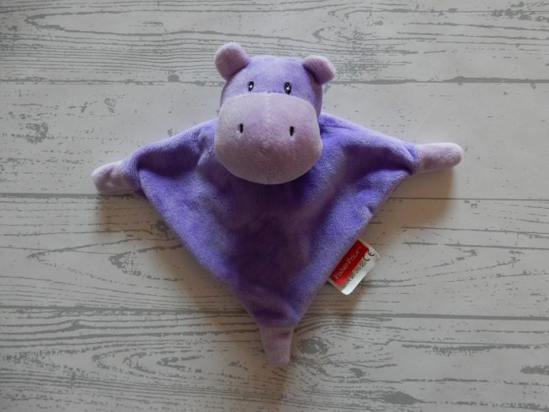 Fisher Price knuffeldoek knuffellap velours paars Nijlpaard
