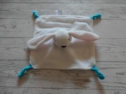 Nutricia knuffeldoek velours wit roze blauw knoop konijn