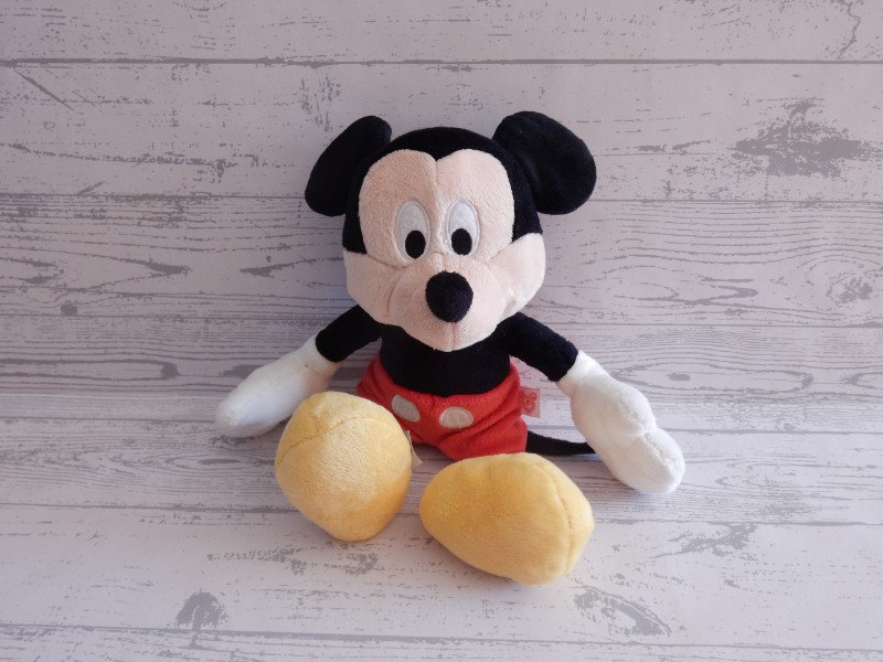 Nicotoy knuffel velours zwart rood geel Mickey Mouse