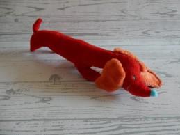 Prenatal knuffel velours rood oranje hond Teckel