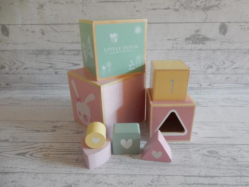 Little Dutch Tiamo houten stapelblokken roze