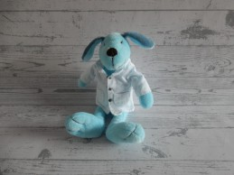 Happy Horse pluche knuffel velours blauw hond Doctor Dog 2007