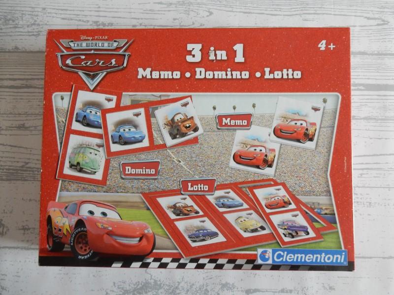 Clementoni Disney Pixar Cars 3 in 1 memory domino lotto