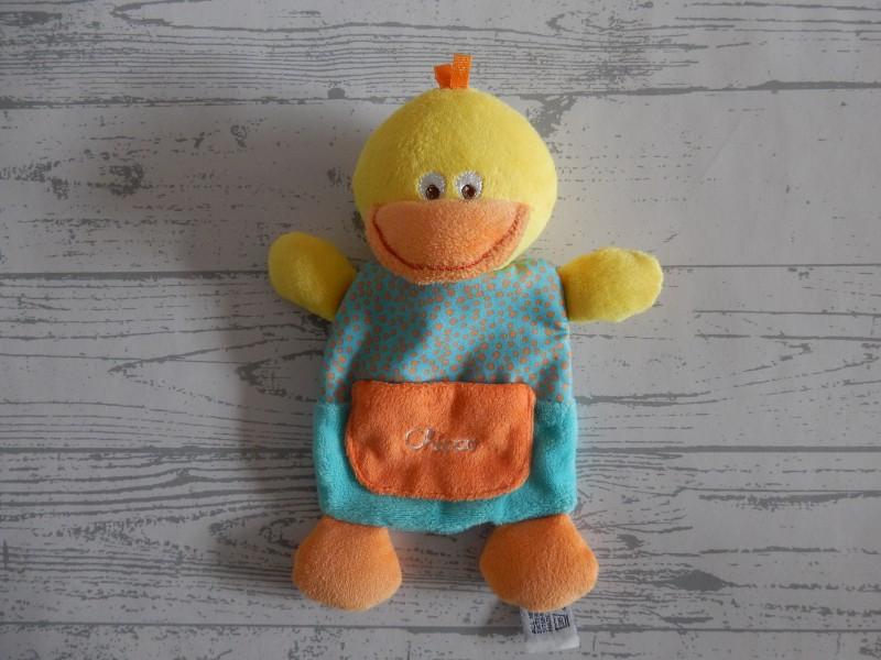Chicco knuffeldoek velours knisper geel oranje blauw Eend