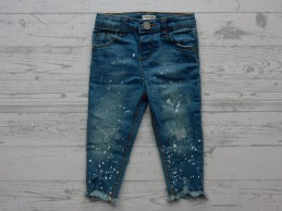 River Island Mini Girls jeans blauw wit patches maat 80