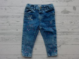 River Island Mini Girls jeans blauw roze lila patches maat 80