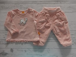 Steiff t-shirt broek corduroy peach zalmroze Little Bear Girls maat 62