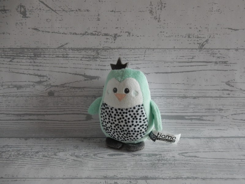 Tiamo Hello Little One knuffel velours mint grijs Pinguïn 12 cm