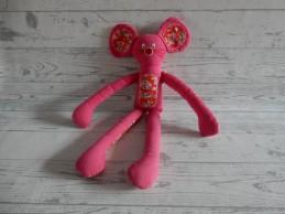 Hema knuffel slungel tricot roze rood bloemen Muis