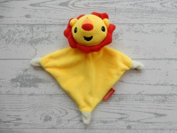 Fisher Price knuffeldoek knuffellap velours geel rood Leeuw
