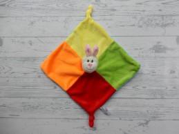 Zeeman knuffeldoek velours rood oranje geel groen blauw konijn