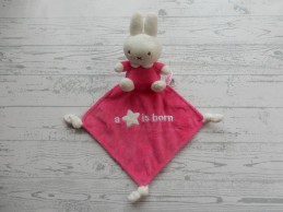 Nijntje knuffeldoek velours wit fuchsia roze A star is Born