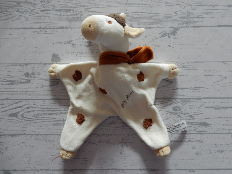 Anna Club Plush knuffeldoek velours beige bruin giraffe baby Sam