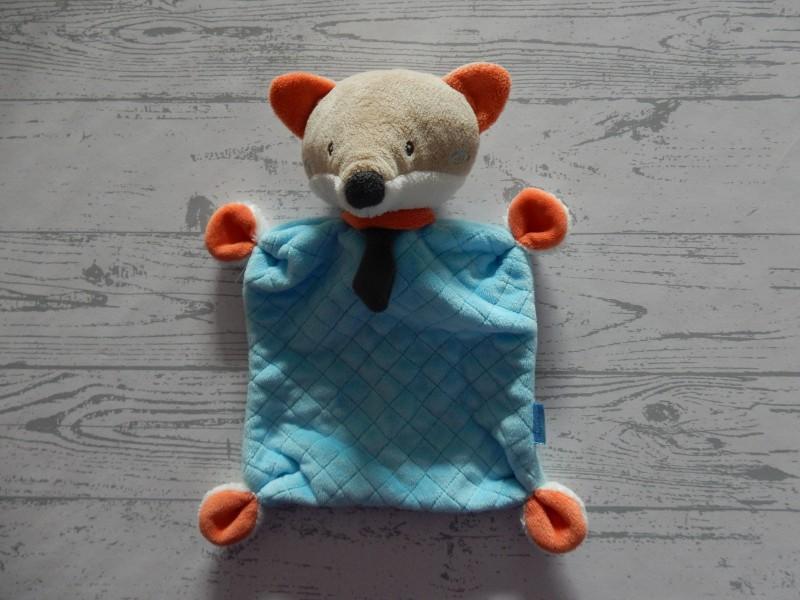 Babydream Rossmann knuffeldoek velours bruin oranje blauw Vos