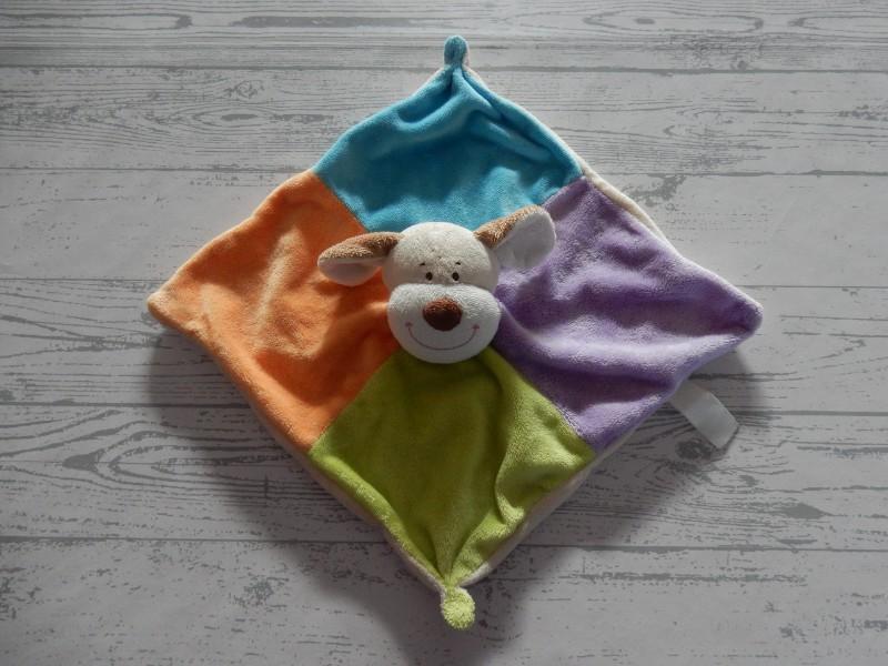 Eddy Toys knuffeldoek velours beige blauw groen Hond