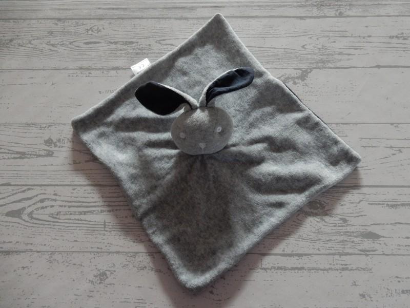 Bambino knuffeldoek velours grijs donkerblauw Konijn
