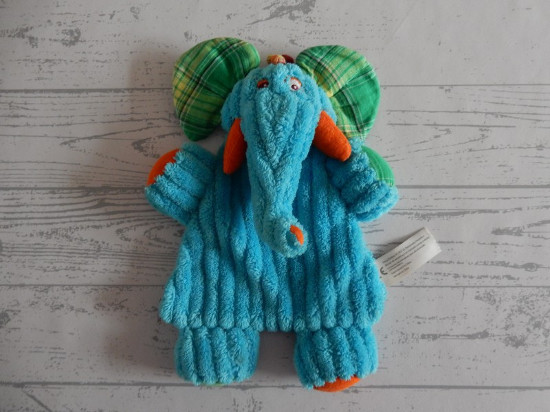 Evora Kruidvat knuffeldoek velours ribstof blauw groen Olifant