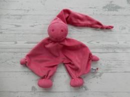 Prenatal knuffeldoek tuttel tutpopje fuchsia roze zilver