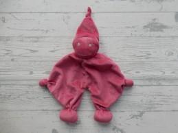 Prenatal knuffeldoek tuttel tutpopje fuchsia roze zilver kort mutsje