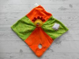 Taf Toys Taftoys knuffeldoek blankie velours oranje groen lichtblauw