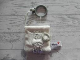 Prenatal buggyboekje softboekje velours wit grijs zilver diertjes