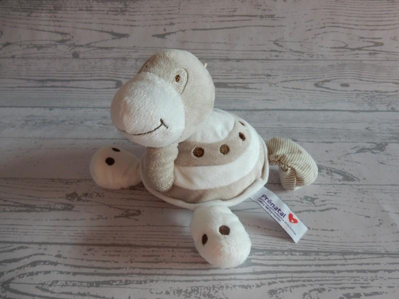 Prenatal knuffel velours beige bruin wit schildpad 20 cm