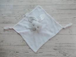 Bambino knuffeldoek velours wit grijs knoopjes konijn
