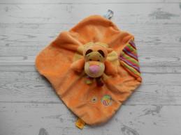 Disney baby knuffeldoek velours oranje rood groen gestreept Teigetje
