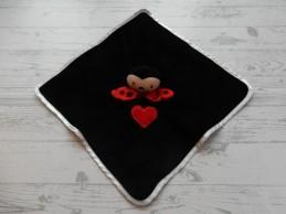 J.i.P knuffeldoek velours zwart rood Lieveheersbeestje